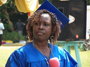 Rev. Judith Otanga, Dean of Alumni addresses the graduates