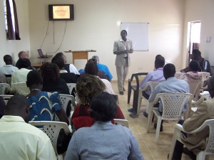 Director Wycliffe Adagala teaching on Team Work